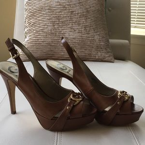 G by Guess Shoes - Camel peep toe guess heels with ankle straps